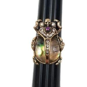 Vintage Style Skull Beetle Mystic Rainbow Ring